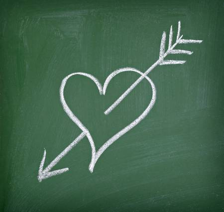 love hearts drawing on a school chalkboard photo