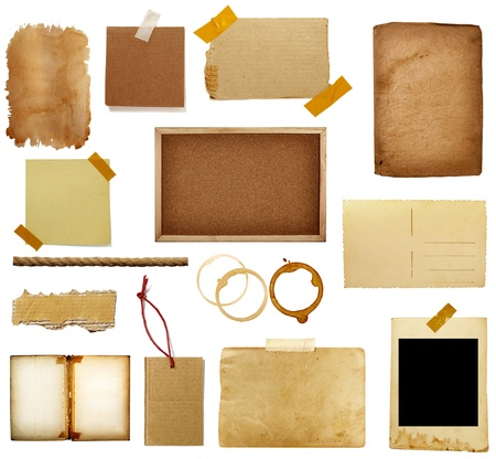 paper tags: collection of various grunge paper pieces on white background. each one is shot separately Stock Photo