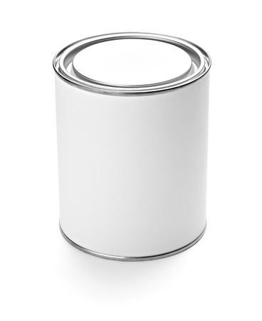 Close up van container van verf en penseel op witte achtergrond