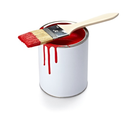 messy paint: close up of paint container and brush  on white background  Stock Photo
