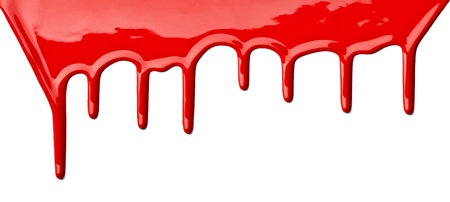 drips: close up of red paint leaking on white background Stock Photo