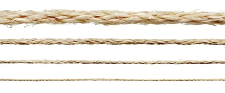 fastening objects: collection of various ropes on white background. each one is shot separately