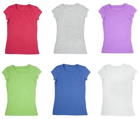 collection of a blank t-shirts on white background. each one is shot separately  photo