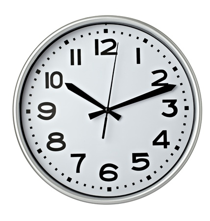 round face: close up of an office clock on white background