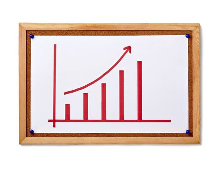 close up of corkboard with finance business graph photo