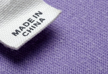 gemaakt: Close-up van kleding etiket gemaakt in china