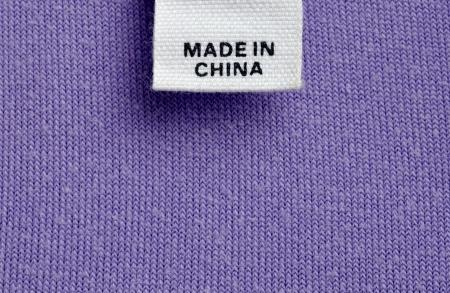 etiquetas de ropa: cerrar una etiqueta de ropa hecha en china