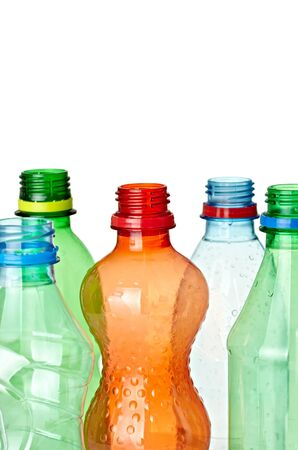 close up of  used plastic bottles on white background with clipping path Stock Photo - 9155856