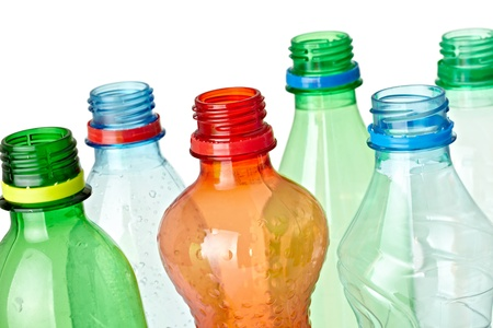 plastic container: close up of  used plastic bottles on white background with clipping path