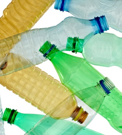 close up of empty used plastic bottles on white background with clipping path Stock Photo - 9198418
