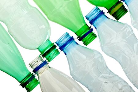 close up of empty used plastic bottles on white background with clipping path Stock Photo - 9198814