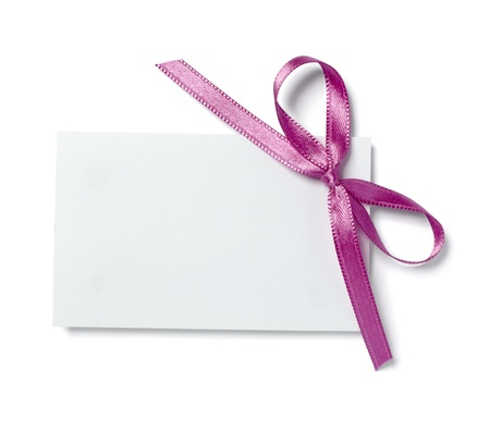 close up of  card note with  ribbon on white background  with clipping path Stock Photo - 9198378