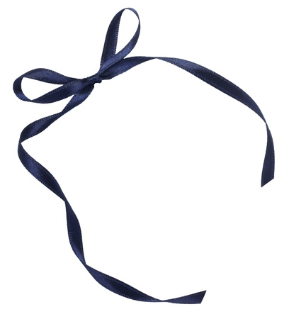 close up of blue ribbon on white background  with clipping path photo