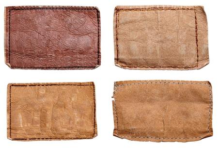 jeansstoff: Sammlung von verschiedenen Jeans-Labels auf wei�em Hintergrund. Jeder wird separat erschossen. Lizenzfreie Bilder