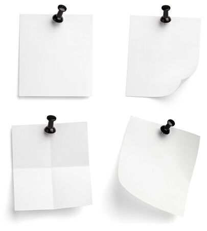 collection of various note papers with push pins on white background. each one is shot separately Stock Photo - 9198712