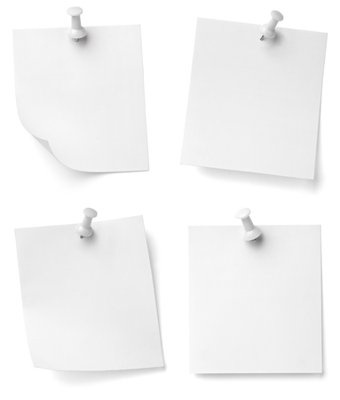 collection of various note papers with push pins on white background. each one is shot separately photo
