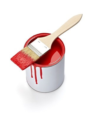 close up of paint container and brush  on white background with clipping path photo