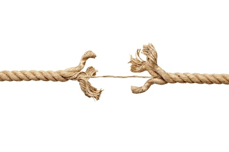 frayed: close up  of a damaged rope on white background with clipping path
