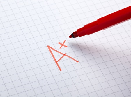 close up of grade a and math examination Stock Photo - 9198423