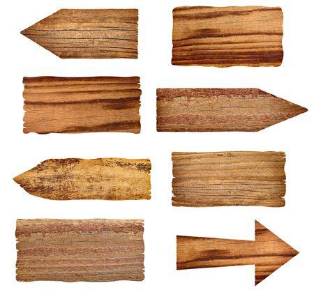 arrow wood: colecci�n de madera signos sobre fondo blanco. cada uno es una imagen independiente