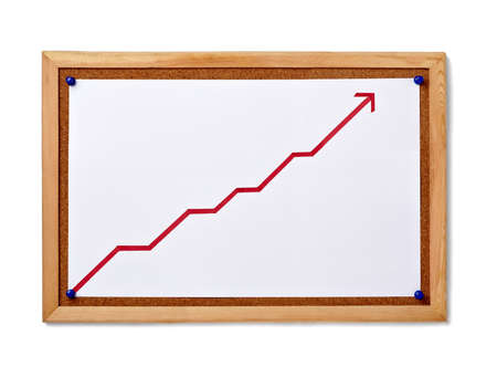 corkboard: close up of corkboard with finance business graph Stock Photo