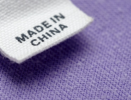 close up clothing label made in china photo