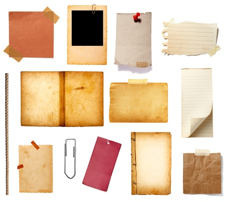 collection of various grunge paper pieces on white background. each one is shot separately photo