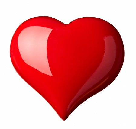 heart shaped: close up red heart shape symbol on white background