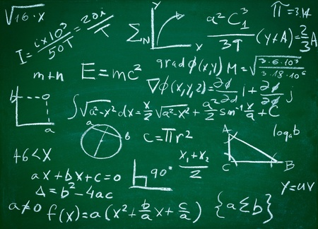 education concept: close up of math formulas on a blackboard