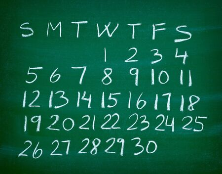 close up of a calendar on a blackboard Stock Photo - 9238068
