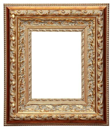 closeup wooden frame for painting or picture on white background  photo
