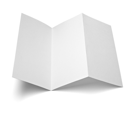 close up of a leaflet blank white paper on white background  photo