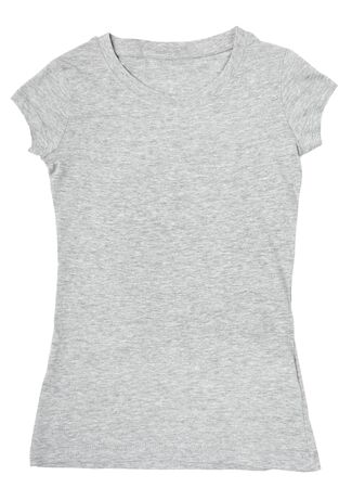 gray clothing: close up of a blank t-shirt on white background  Stock Photo