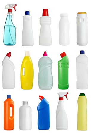 collection of various sanitary hygiene bottles on white background. each one is shot separately photo