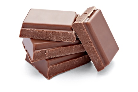 eating chocolate: close up  of chocolate pieces on white background