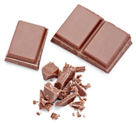 endorphines: close up  of chocolate pieces on white background