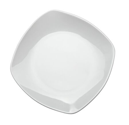 close up  of an empty white plate on white background  photo