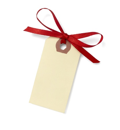 gift tag: close up of  card note with red ribbon on white background   Stock Photo