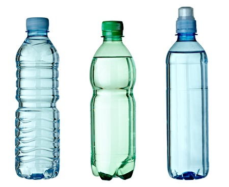 plastic bottle: collection of empty used plastic bottles on white background. each one is shot separately Stock Photo