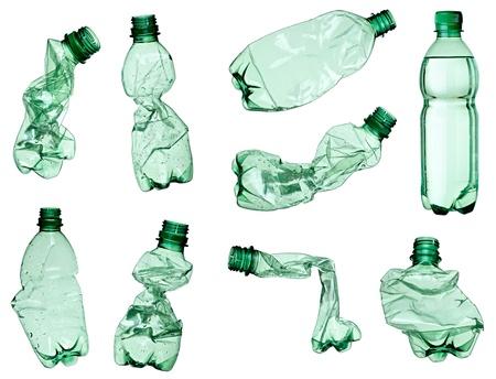 kunststoff: Auflistung von leeren verwendet Kunststoff-Flaschen auf wei�em Hintergrund. Jeder wird separat erschossen