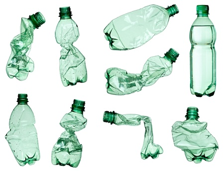 plastic container: collection of empty used plastic bottles on white background. each one is shot separately Stock Photo