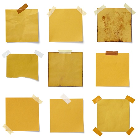 memo: collection of various  note papers on white background. each one is shot separately