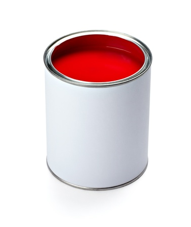 close up of paint container and brush  on white background Stock Photo - 9390404