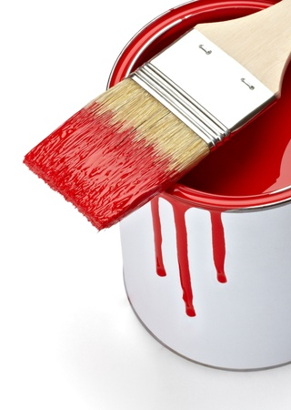 close up of paint container and brush  on white background  photo