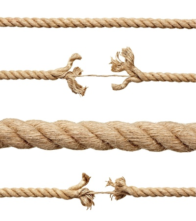 frayed: collection of various ropes on white background. each one is shot separately