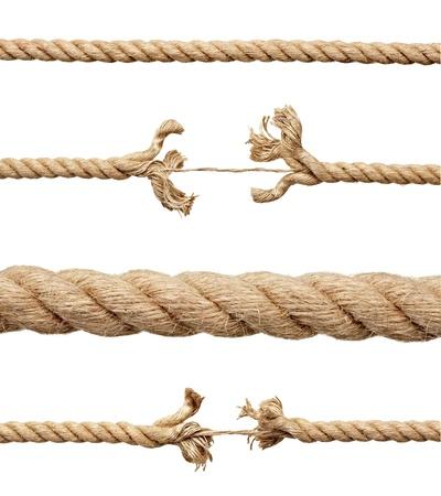 hanf: Sammlung von verschiedenen Seile auf wei�em Hintergrund. Jeder wird separat erschossen.