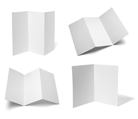fold: collection of various leaflet blank white paper on white background. each one is shot separately