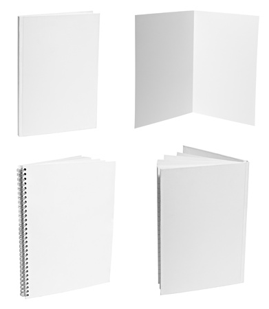 blank note book: collection of various  blank white paper on white background. each one is shot separately Stock Photo