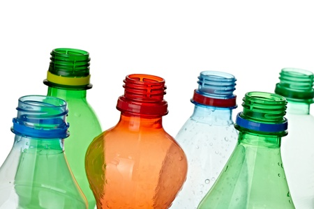 close up of  used plastic bottles on white background with clipping path photo