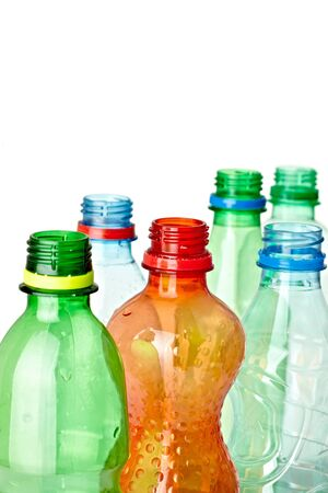 close up of  used plastic bottles on white background with clipping path Stock Photo - 9415329